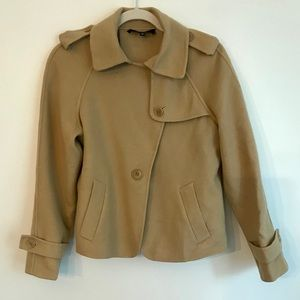 Talbots Wool Tan Peacoat Size 6P